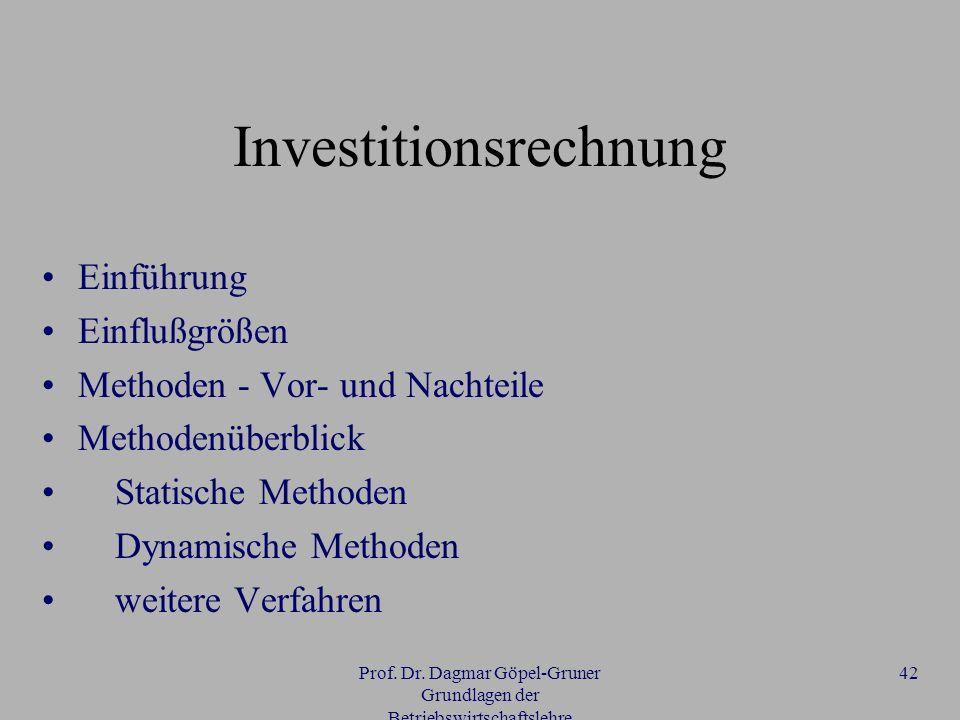 Prof. Dr. Dagmar Göpel-Gruner Grundlagen der Betriebswirtschaftslehre 42 Investitionsrechnung Einführung Einflußgrößen Methoden - Vor- und Nachteile M