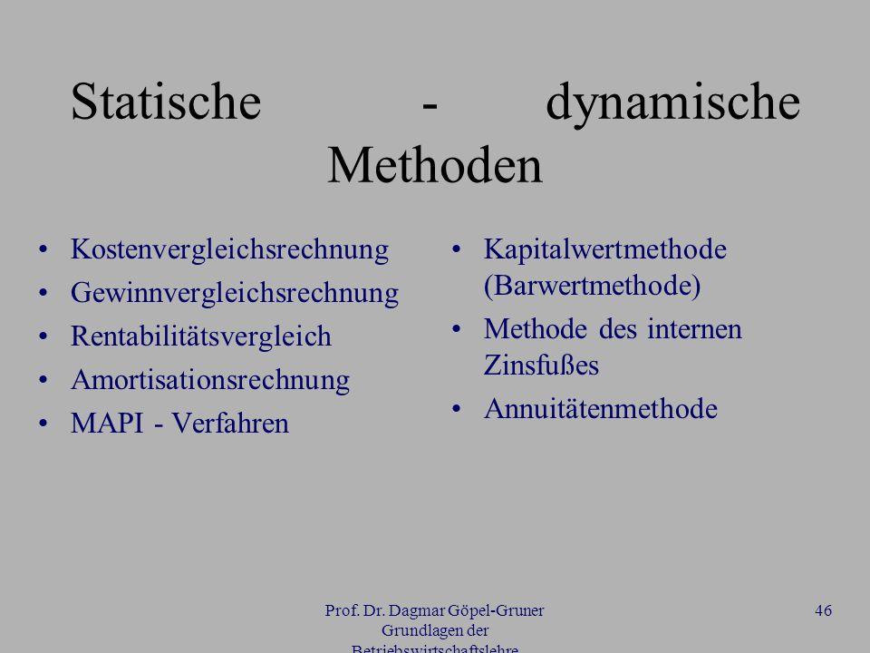Prof. Dr. Dagmar Göpel-Gruner Grundlagen der Betriebswirtschaftslehre 46 Statische - dynamische Methoden Kostenvergleichsrechnung Gewinnvergleichsrech