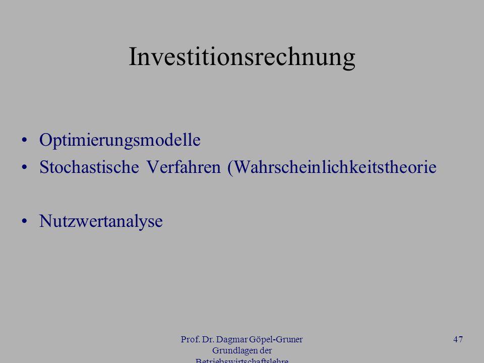 Prof. Dr. Dagmar Göpel-Gruner Grundlagen der Betriebswirtschaftslehre 47 Investitionsrechnung Optimierungsmodelle Stochastische Verfahren (Wahrscheinl