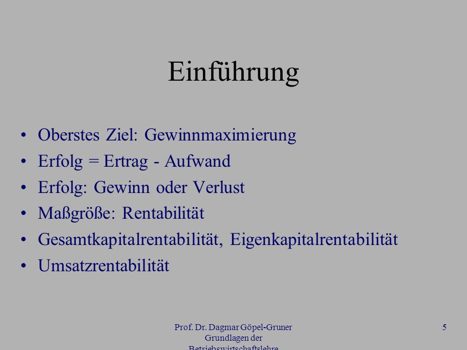 Prof. Dr. Dagmar Göpel-Gruner Grundlagen der Betriebswirtschaftslehre 5 Einführung Oberstes Ziel: Gewinnmaximierung Erfolg = Ertrag - Aufwand Erfolg: