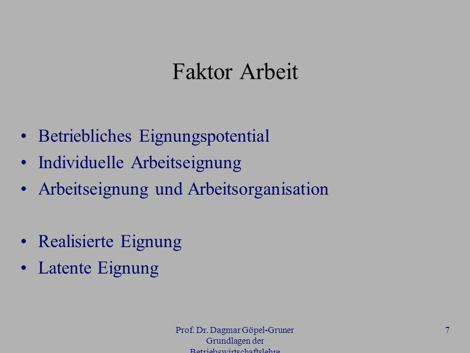 Prof. Dr. Dagmar Göpel-Gruner Grundlagen der Betriebswirtschaftslehre 7 Faktor Arbeit Betriebliches Eignungspotential Individuelle Arbeitseignung Arbe