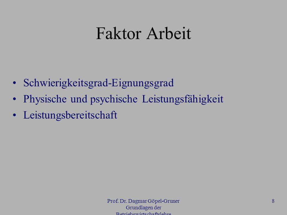 Prof. Dr. Dagmar Göpel-Gruner Grundlagen der Betriebswirtschaftslehre 8 Faktor Arbeit Schwierigkeitsgrad-Eignungsgrad Physische und psychische Leistun