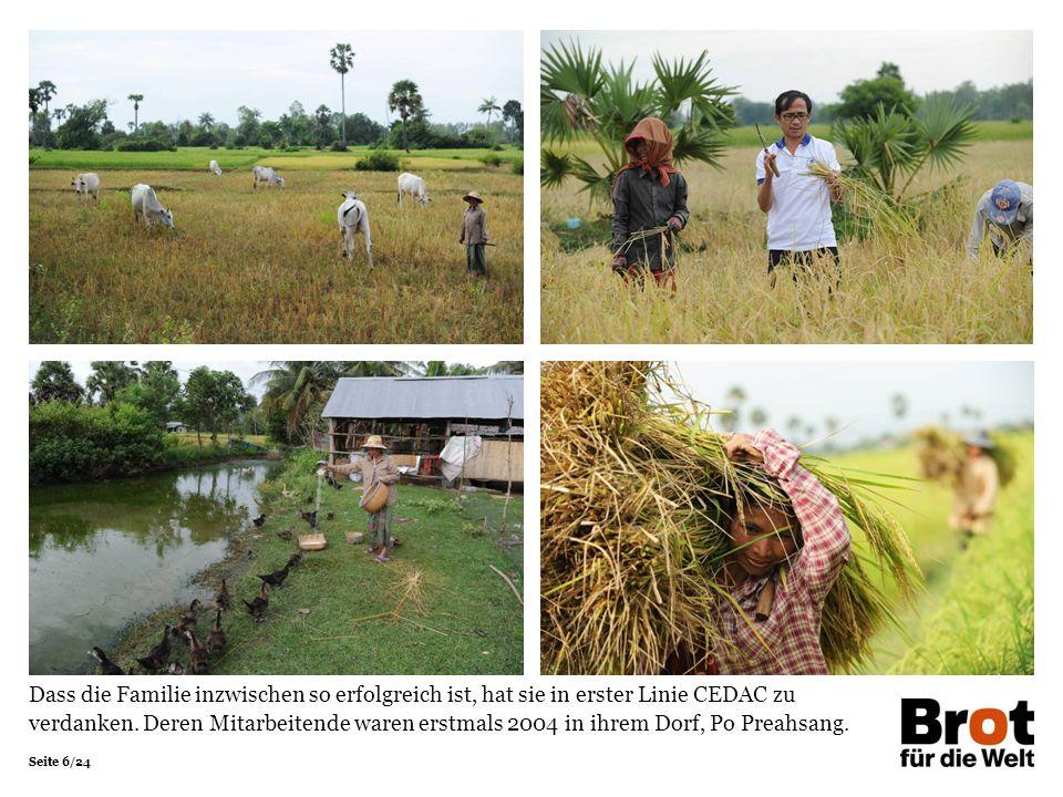 Seite 17/24 Kurz vor der Mittagspause laden Sovannary und ihr Mann die geernteten Reisbündel auf ihre Holzkarre und schieben diese zurück zu ihrem Haus.