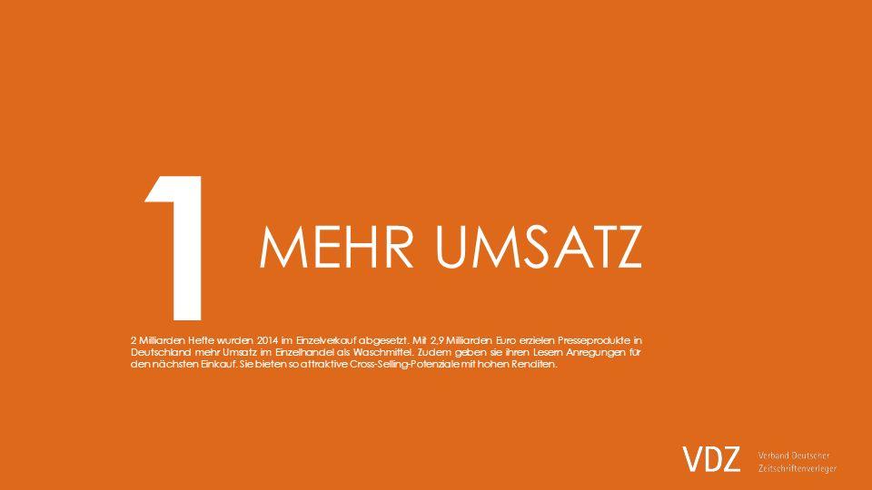 MEHR UMSATZ 2 Milliarden Hefte wurden 2014 im Einzelverkauf abgesetzt.