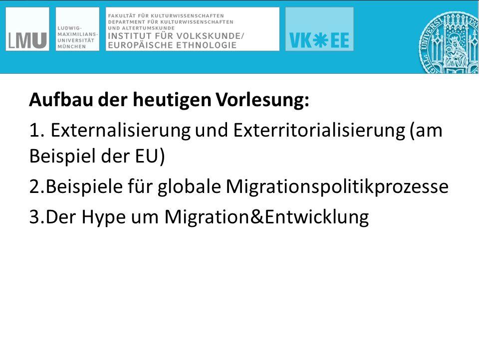 Aufbau der heutigen Vorlesung: 1. Externalisierung und Exterritorialisierung (am Beispiel der EU) 2.Beispiele für globale Migrationspolitikprozesse 3.