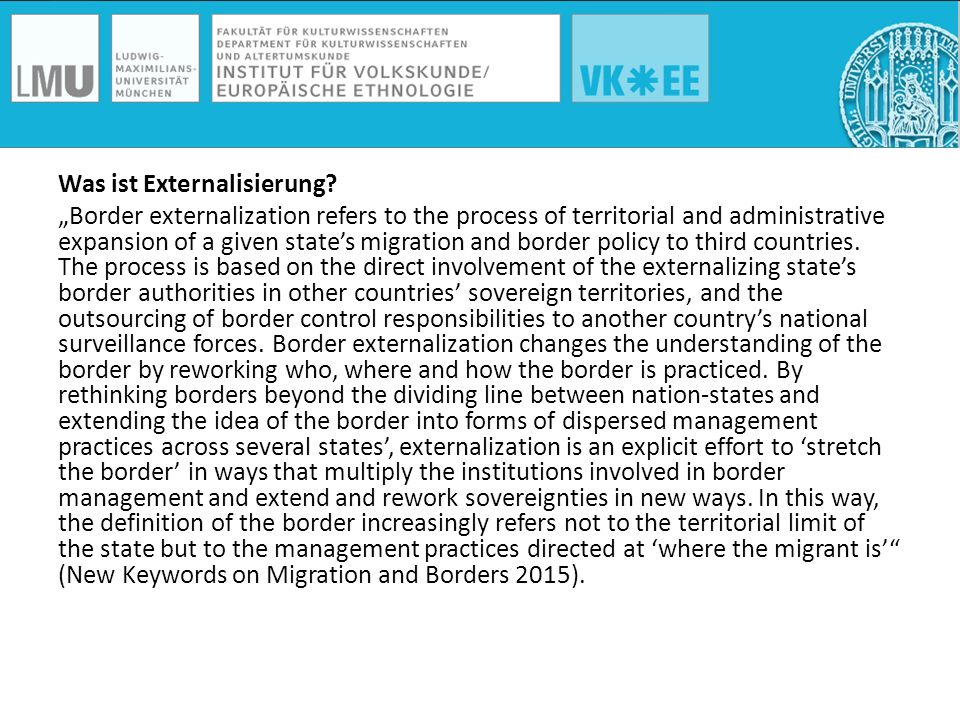 "Was ist Externalisierung? ""Border externalization refers to the process of territorial and administrative expansion of a given state's migration and b"