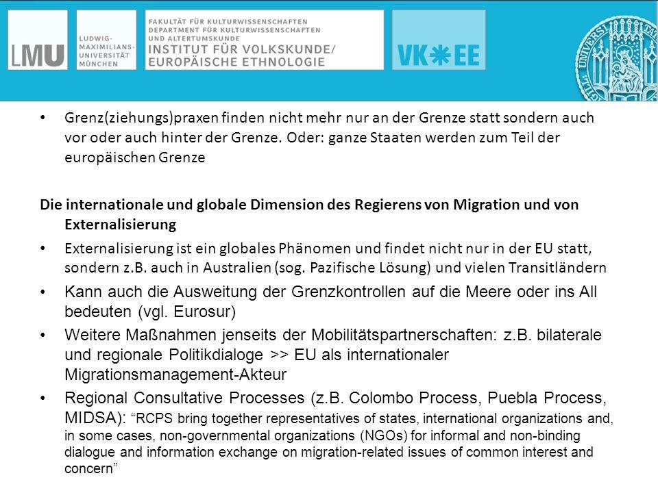 Der Geograph Martin Geiger hat das Wechselspiel zwischen EU und internationalen Organisationen in der Externalisierung der EU-Migrationspolitik und in der Globalisierung des Migrationsmanagements aufbauend auf einem Forschungsaufenthalt in der Ukraine verdeutlicht (Geiger 2007): IOs (z.B.