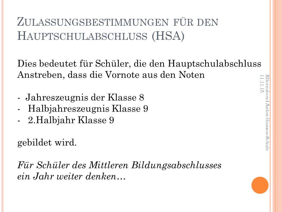 Z ULASSUNGSBESTIMMUNGEN FÜR DEN H AUPTSCHULABSCHLUSS (HSA) Elternabend Anton-Hansen-Schule 11.11.15 Dies bedeutet für Schüler, die den Hauptschulabsch
