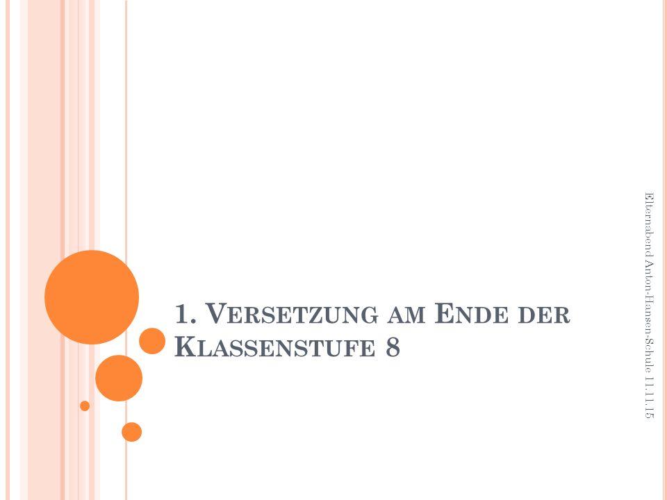 1. V ERSETZUNG AM E NDE DER K LASSENSTUFE 8 Elternabend Anton-Hansen-Schule 11.11.15