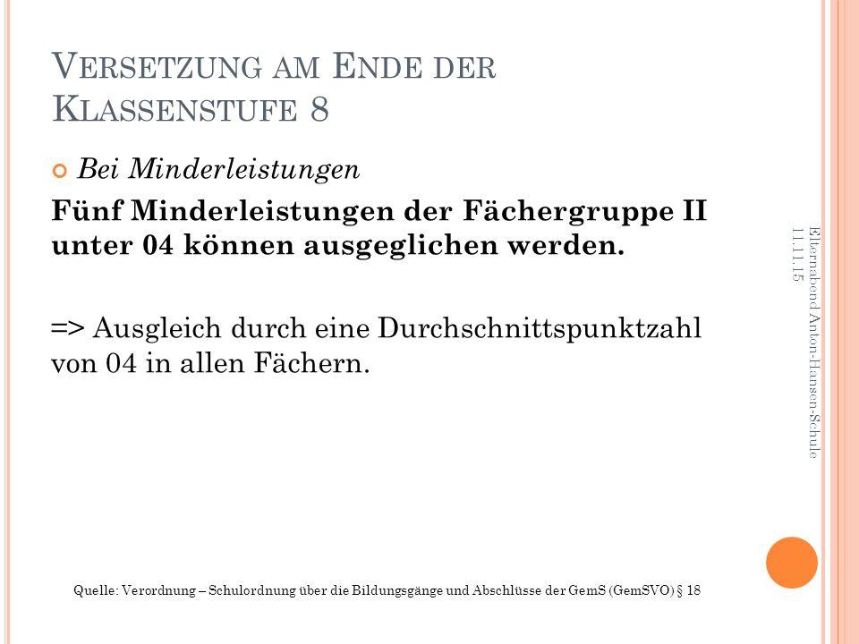 V ERSETZUNG AM E NDE DER K LASSENSTUFE 8 Bei Minderleistungen Fünf Minderleistungen der Fächergruppe II unter 04 können ausgeglichen werden.