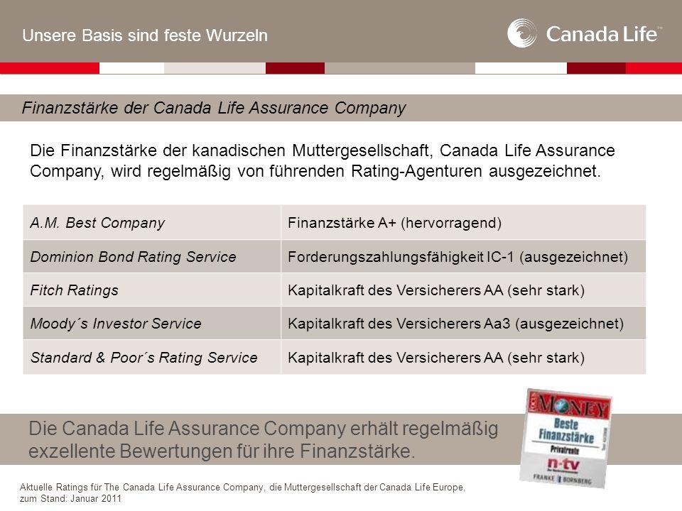 Unsere Basis sind feste Wurzeln Finanzstärke der Canada Life Assurance Company Die Canada Life Assurance Company erhält regelmäßig exzellente Bewertungen für ihre Finanzstärke.