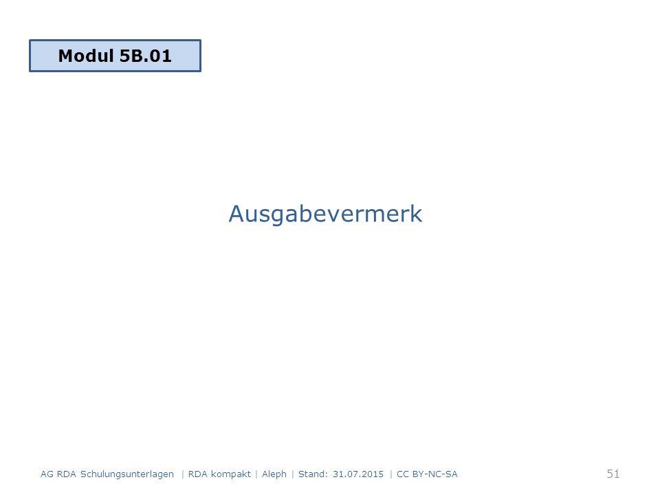Ausgabevermerk AG RDA Schulungsunterlagen | RDA kompakt | Aleph | Stand: 31.07.2015 | CC BY-NC-SA 51 Modul 5B.01