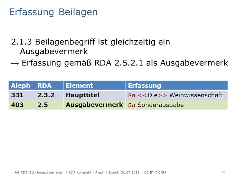 Erfassung Beilagen 2.1.3 Beilagenbegriff ist gleichzeitig ein Ausgabevermerk → Erfassung gemäß RDA 2.5.2.1 als Ausgabevermerk 65 AlephRDAElementErfass