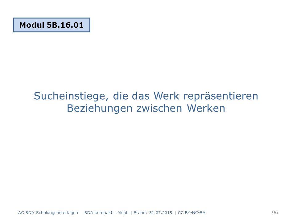 Sucheinstiege, die das Werk repräsentieren Beziehungen zwischen Werken Modul 5B.16.01 96 AG RDA Schulungsunterlagen | RDA kompakt | Aleph | Stand: 31.