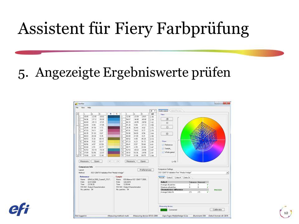 Assistent für Fiery Farbprüfung 12 5. Angezeigte Ergebniswerte prüfen