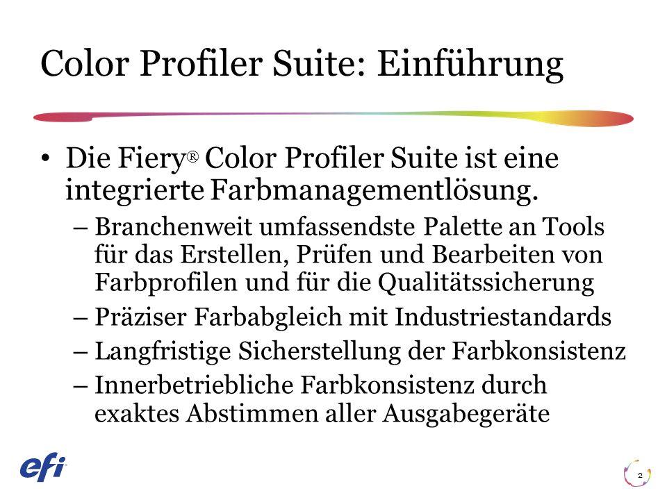 Color Profiler Suite: Einführung 2 Die Fiery ® Color Profiler Suite ist eine integrierte Farbmanagementlösung.