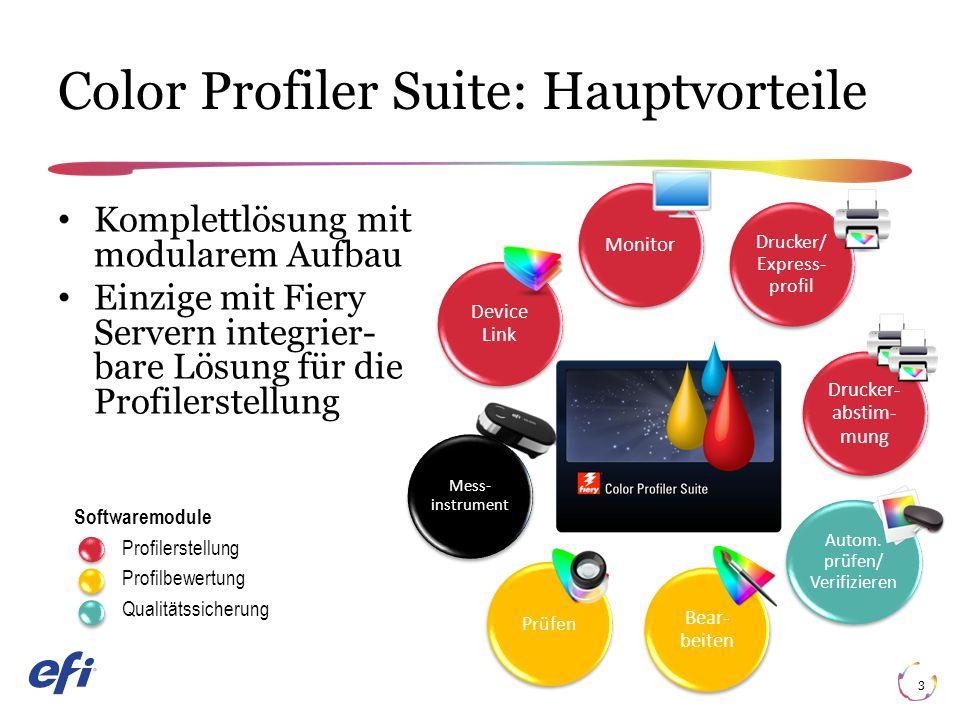 Color Profiler Suite: Hauptvorteile 3 Komplettlösung mit modularem Aufbau Einzige mit Fiery Servern integrier bare Lösung für die Profilerstellung Softwaremodule Profilerstellung Profilbewertung Qualitätssicherung Monitor Drucker/ Express- profil Drucker- abstim- mung Autom.