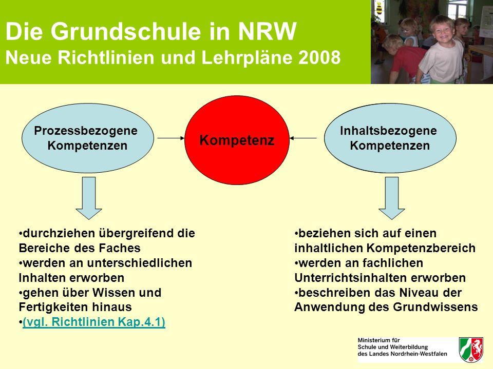 Die Grundschule in NRW Neue Richtlinien und Lehrpläne 2008 Kompetenz Inhaltsbezogene Kompetenzen Prozessbezogene Kompetenzen beziehen sich auf einen i