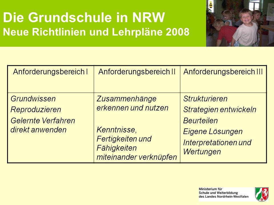 Die Grundschule in NRW Neue Richtlinien und Lehrpläne 2008 Anforderungsbereich IAnforderungsbereich IIAnforderungsbereich III Grundwissen Reproduziere