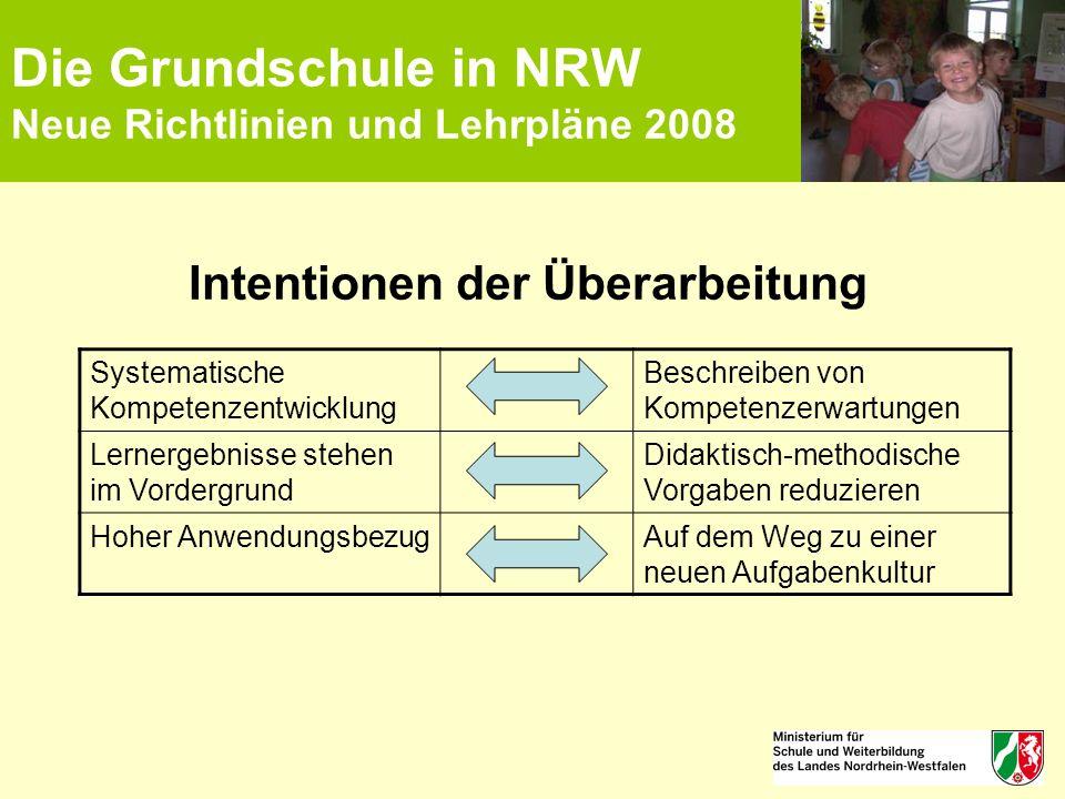Die Grundschule in NRW Neue Richtlinien und Lehrpläne 2008 Intentionen der Überarbeitung Systematische Kompetenzentwicklung Beschreiben von Kompetenze
