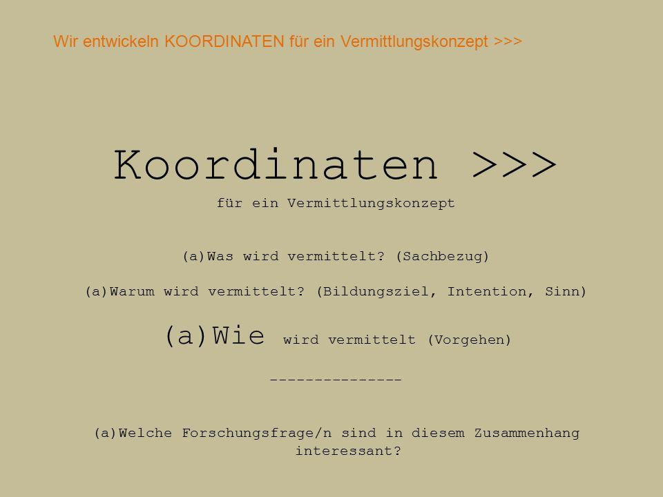 Koordinaten >>> für ein Vermittlungskonzept (a)Was wird vermittelt.