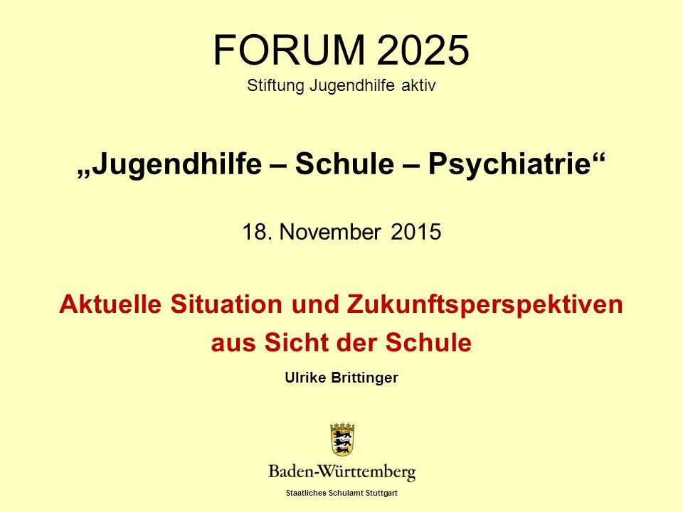 Staatliches Schulamt Stuttgart Folie 2, 18.11.2015 Entwicklungen In den letzten 15 Jahren ist eine starke Zunahme der Schülerinnen und Schüler mit einem Anspruch auf ein sonderpädagogisches Bildungsangebot im Bereich der emotionalen und sozialen Entwicklung sowie auch mit psychiatrischen Krankheitsbildern zu verzeichnen.