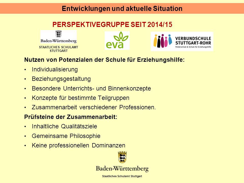 Staatliches Schulamt Stuttgart STAATLICHES SCHULAMT STUTTGART PERSPEKTIVEGRUPPE SEIT 2014/15 Entwicklungen und aktuelle Situation Nutzen von Potenzial