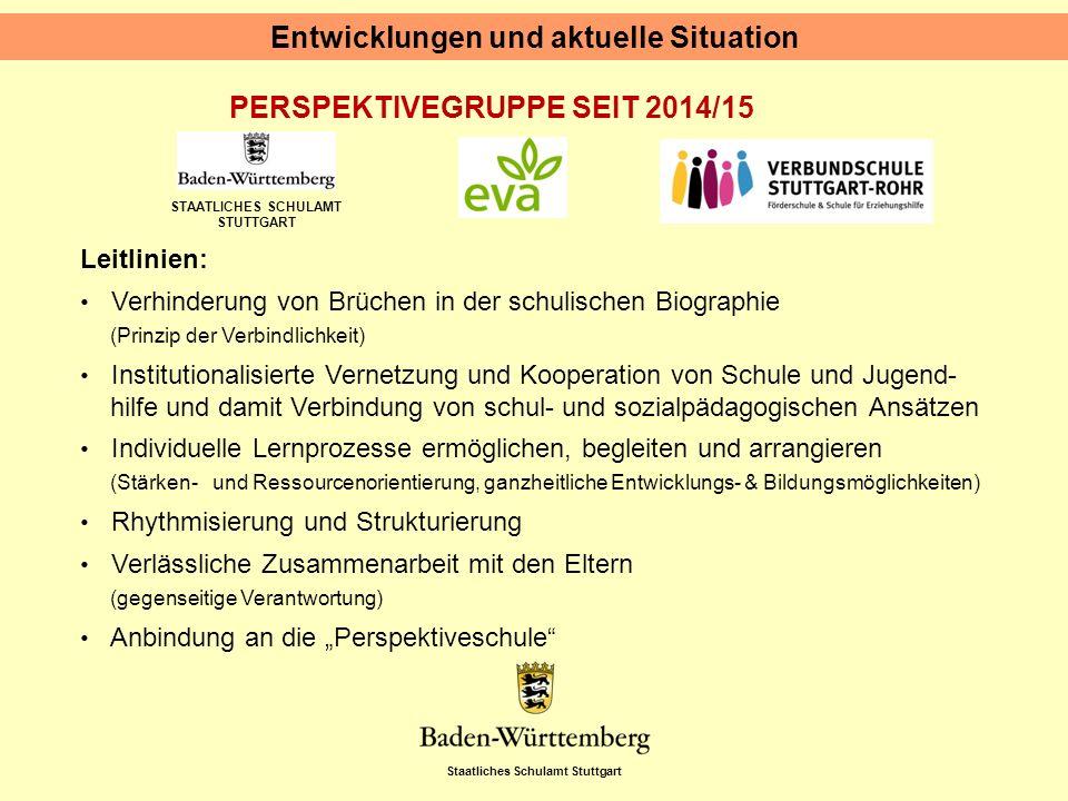 Staatliches Schulamt Stuttgart STAATLICHES SCHULAMT STUTTGART PERSPEKTIVEGRUPPE SEIT 2014/15 Entwicklungen und aktuelle Situation Leitlinien: Verhinde