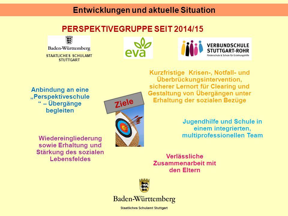 """Staatliches Schulamt Stuttgart STAATLICHES SCHULAMT STUTTGART PERSPEKTIVEGRUPPE SEIT 2014/15 Entwicklungen und aktuelle Situation Anbindung an eine """"P"""