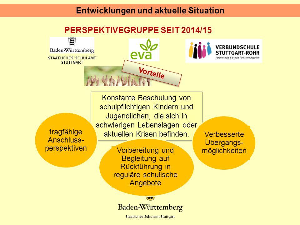 Staatliches Schulamt Stuttgart STAATLICHES SCHULAMT STUTTGART PERSPEKTIVEGRUPPE SEIT 2014/15 Entwicklungen und aktuelle Situation Vorteile Konstante Beschulung von schulpflichtigen Kindern und Jugendlichen, die sich in schwierigen Lebenslagen oder aktuellen Krisen befinden.
