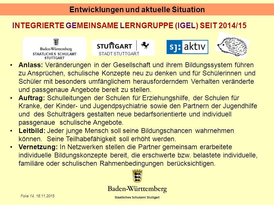 Staatliches Schulamt Stuttgart Folie 14, 18.11.2015 Entwicklungen und aktuelle Situation STAATLICHES SCHULAMT STUTTGART STADT STUTTGART INTEGRIERTE GE