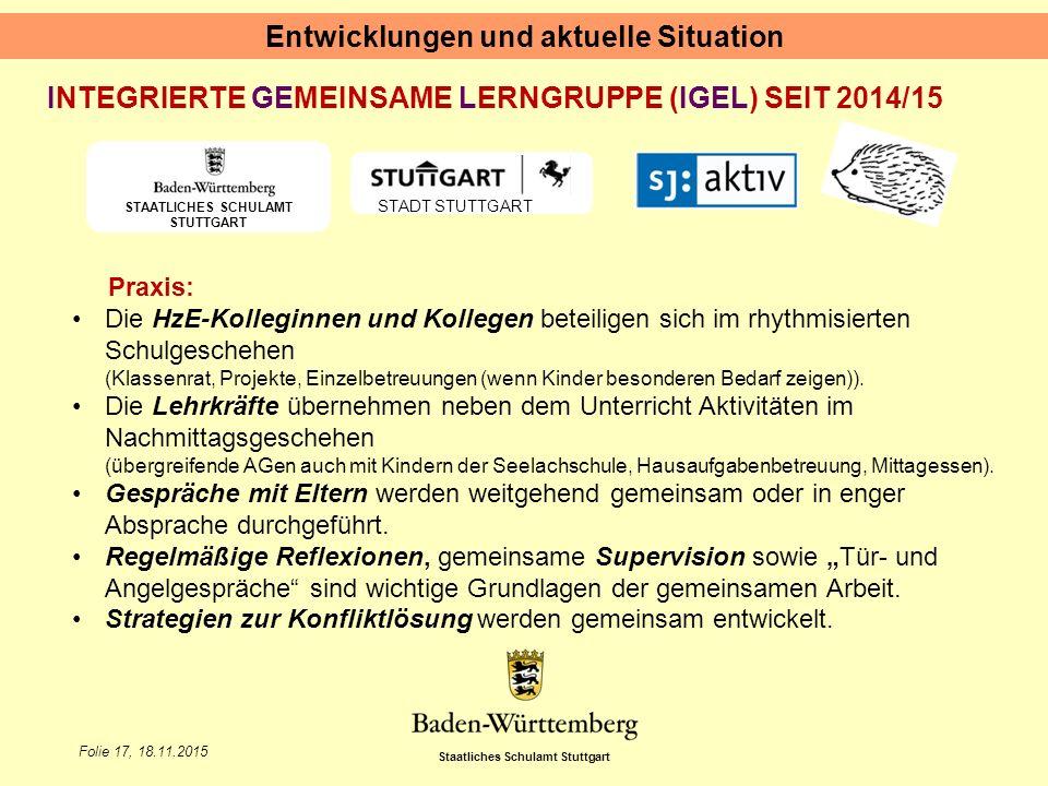 Staatliches Schulamt Stuttgart Folie 17, 18.11.2015 Entwicklungen und aktuelle Situation STAATLICHES SCHULAMT STUTTGART STADT STUTTGART INTEGRIERTE GE