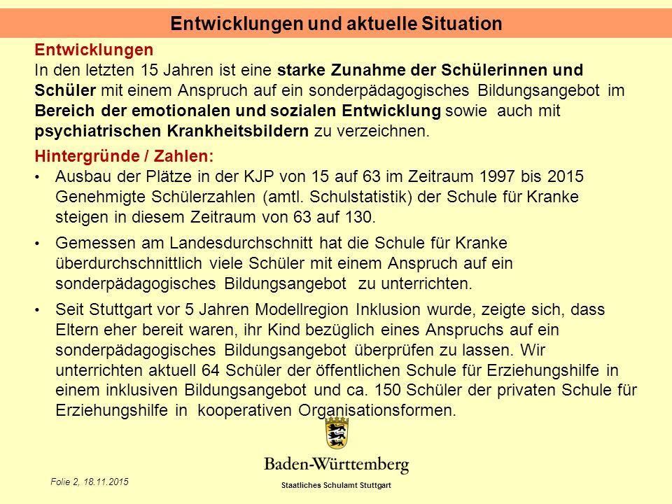 Staatliches Schulamt Stuttgart Folie 2, 18.11.2015 Entwicklungen In den letzten 15 Jahren ist eine starke Zunahme der Schülerinnen und Schüler mit ein