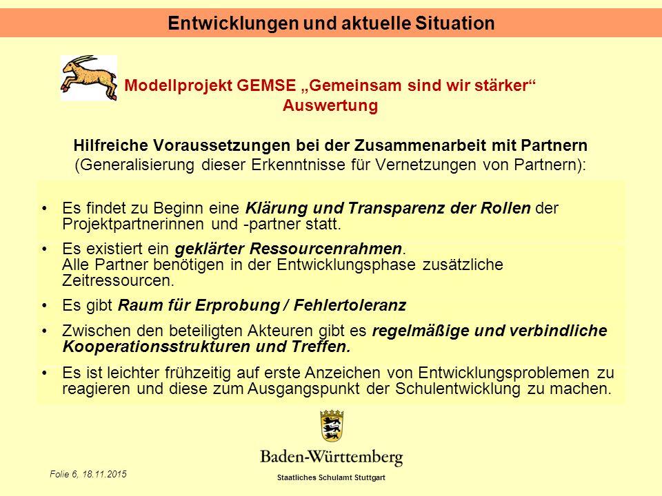 """Staatliches Schulamt Stuttgart Folie 6, 18.11.2015 Modellprojekt GEMSE """"Gemeinsam sind wir stärker"""" Auswertung Hilfreiche Voraussetzungen bei der Zusa"""