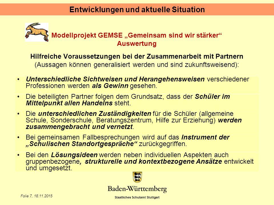 """Staatliches Schulamt Stuttgart Folie 7, 18.11.2015 Modellprojekt GEMSE """"Gemeinsam sind wir stärker"""" Auswertung Hilfreiche Voraussetzungen bei der Zusa"""