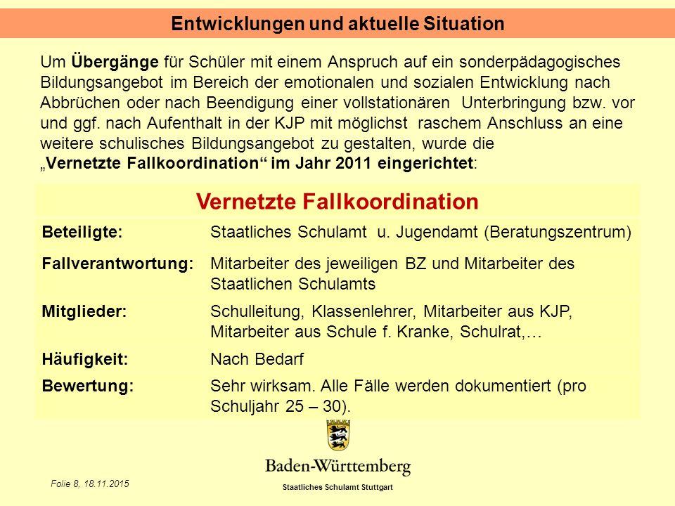 Staatliches Schulamt Stuttgart Folie 8, 18.11.2015 Um Übergänge für Schüler mit einem Anspruch auf ein sonderpädagogisches Bildungsangebot im Bereich