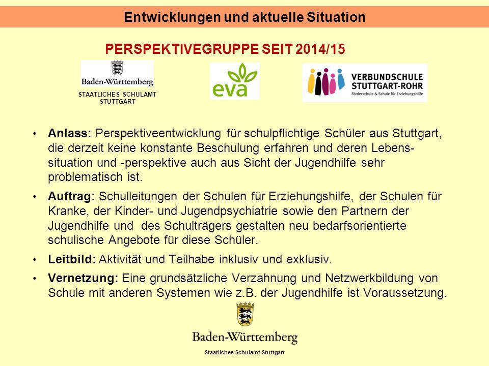 Staatliches Schulamt Stuttgart STAATLICHES SCHULAMT STUTTGART PERSPEKTIVEGRUPPE SEIT 2014/15 Entwicklungen und aktuelle Situation Anlass: Perspektivee