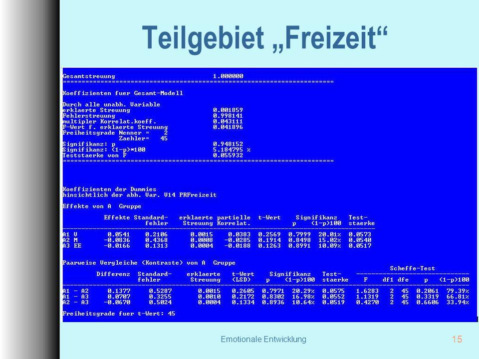 """Emotionale Entwicklung 15 Teilgebiet """"Freizeit"""""""