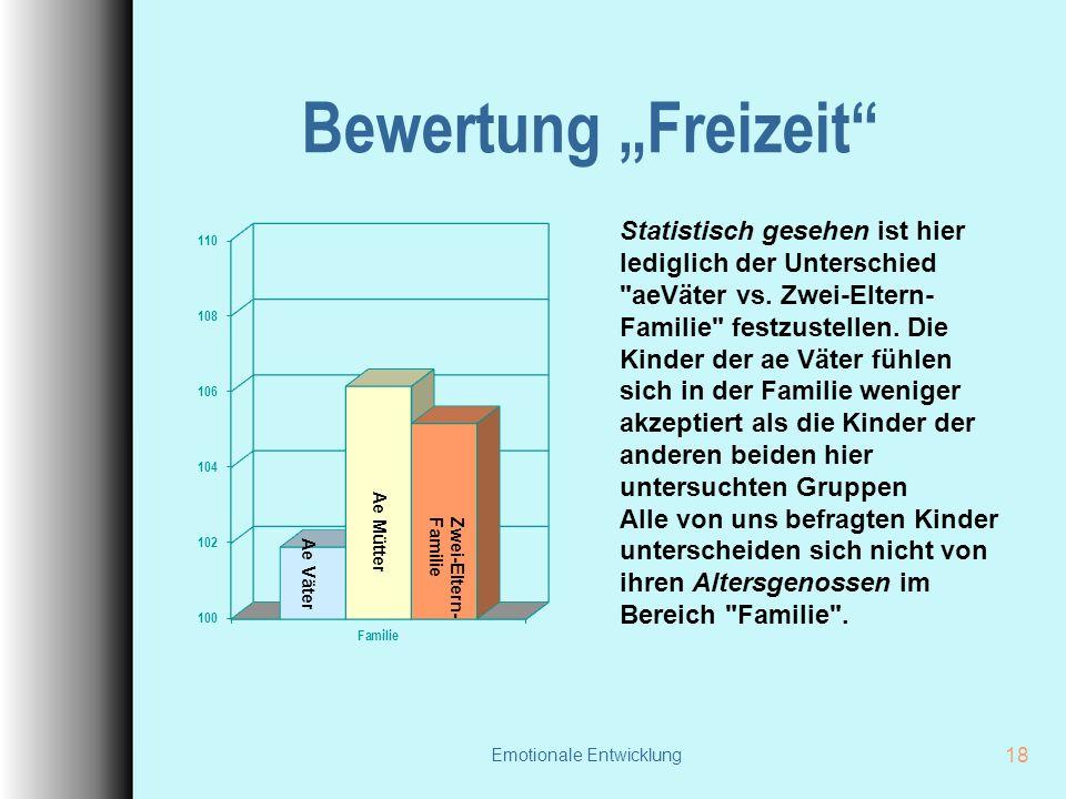 """Emotionale Entwicklung 18 Bewertung """"Freizeit Statistisch gesehen ist hier lediglich der Unterschied aeVäter vs."""