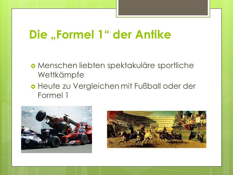"""Die """"Formel 1"""" der Antike  Menschen liebten spektakuläre sportliche Wettkämpfe  Heute zu Vergleichen mit Fußball oder der Formel 1"""