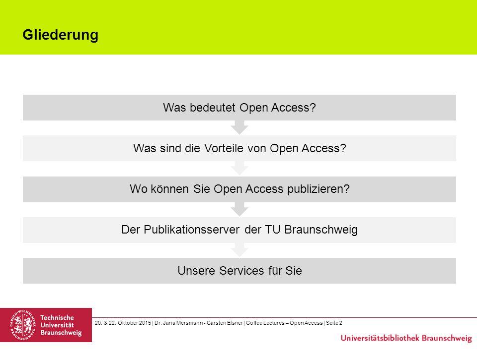 20. & 22. Oktober 2015 | Dr. Jana Mersmann - Carsten Elsner | Coffee Lectures – Open Access | Seite 2 Gliederung Unsere Services für Sie Der Publikati