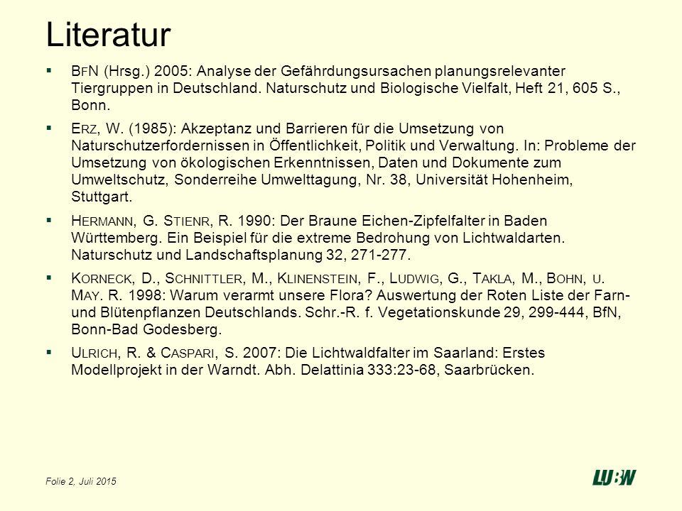 Literatur  B F N (Hrsg.) 2005: Analyse der Gefährdungsursachen planungsrelevanter Tiergruppen in Deutschland. Naturschutz und Biologische Vielfalt, H