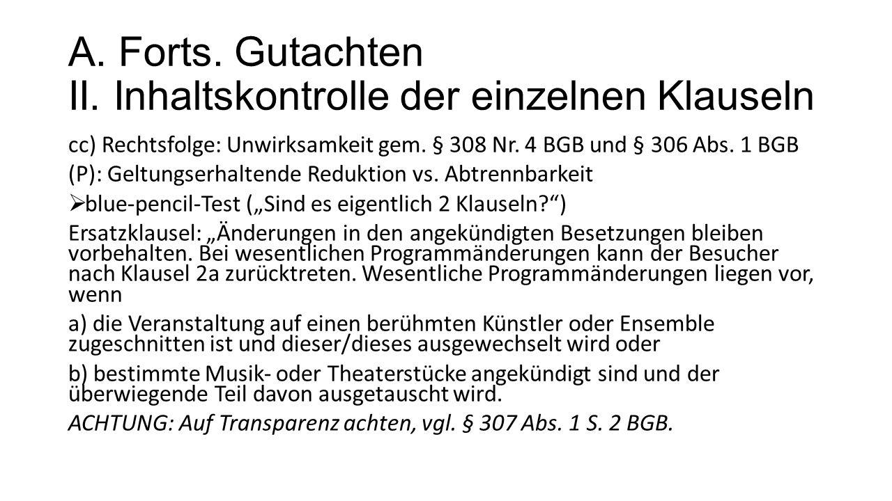 A. Forts. Gutachten II.