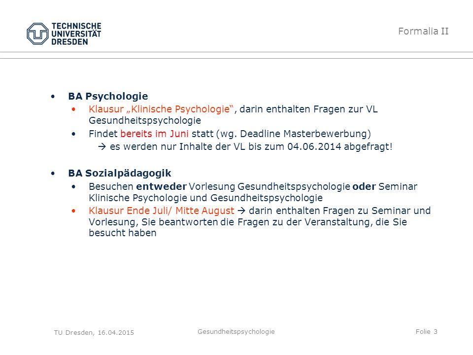 """BA Psychologie Klausur """"Klinische Psychologie"""", darin enthalten Fragen zur VL Gesundheitspsychologie Findet bereits im Juni statt (wg. Deadline Master"""