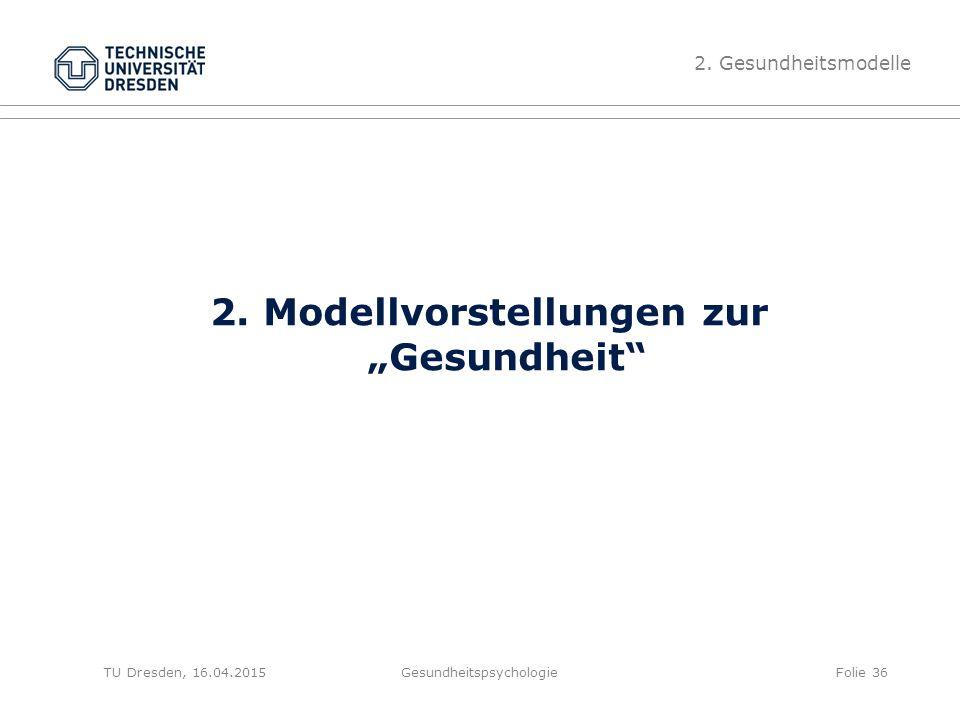 """2. Modellvorstellungen zur """"Gesundheit"""" Gesundheitspsychologie 2. Gesundheitsmodelle Folie 36TU Dresden, 16.04.2015"""