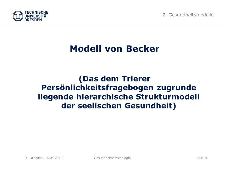 Modell von Becker (Das dem Trierer Persönlichkeitsfragebogen zugrunde liegende hierarchische Strukturmodell der seelischen Gesundheit) Gesundheitspsyc