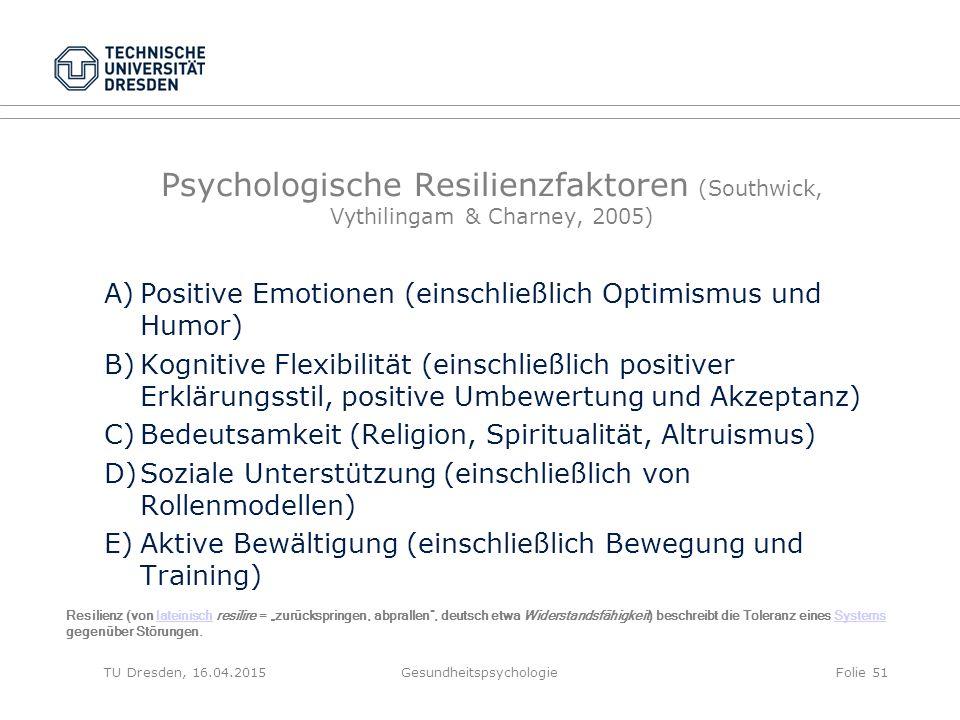 Psychologische Resilienzfaktoren (Southwick, Vythilingam & Charney, 2005) A)Positive Emotionen (einschließlich Optimismus und Humor) B)Kognitive Flexi