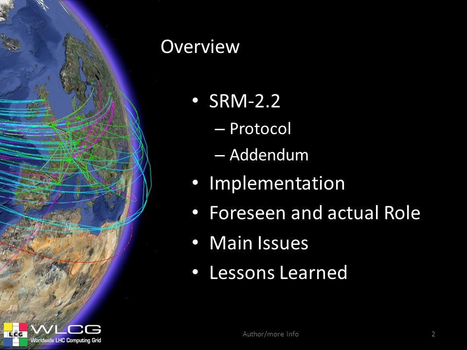 Author/more info Overview SRM-2.2 – Protocol – Addendum Implementation Foreseen and actual Role Main Issues Lessons Learned 2