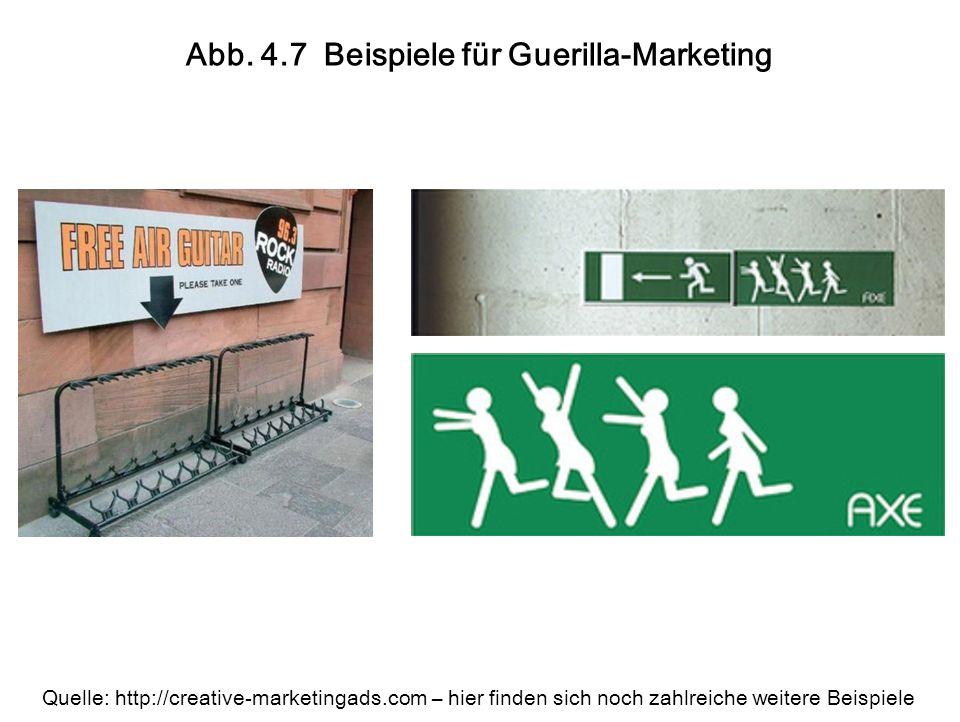 Abb. 4.7 Beispiele für Guerilla-Marketing Quelle: http://creative-marketingads.com – hier finden sich noch zahlreiche weitere Beispiele