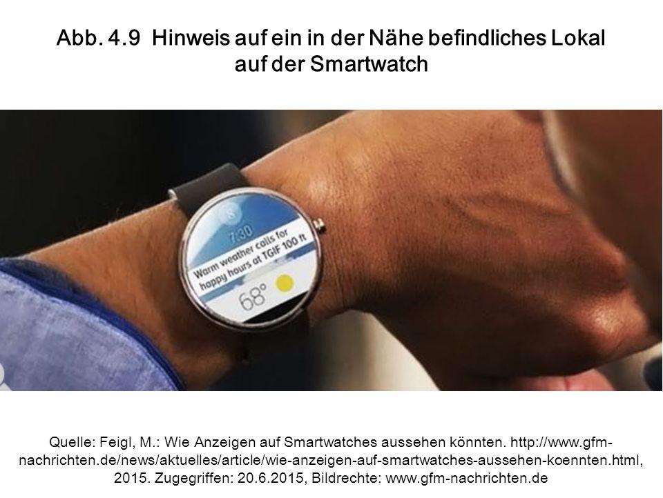 Abb. 4.9 Hinweis auf ein in der Nähe befindliches Lokal auf der Smartwatch Quelle: Feigl, M.: Wie Anzeigen auf Smartwatches aussehen könnten. http://w